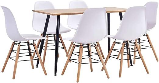 Goliraya Juego de Comedor 7 Piezas plástico Blanco, Conjunto de Mesa sillas,Mesa Salón y Sillas,Muebles de Jardin Exterior Conjuntos: Amazon.es: Hogar