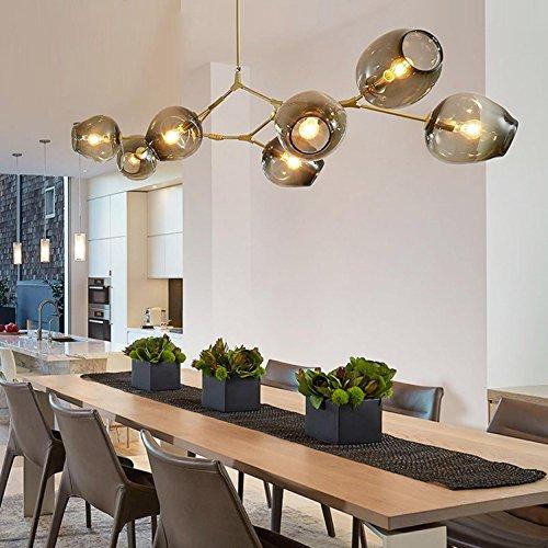 GRFH Post Modern Glass Bubble Bulb Chandelier 9 Head Restaurant Living Room Branch Shaped Tree DNA Molecular Lamp