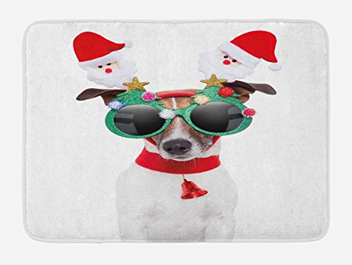 Ambesonne Christmas Bath Mat, Funny Puppy Jack Russel Dog with Hilarious Sunglasses Santa Figures and Bell, Plush Bathroom Decor Mat with Non Slip Backing, 29.5 W X 17.5 L Inches, Multicolor ()