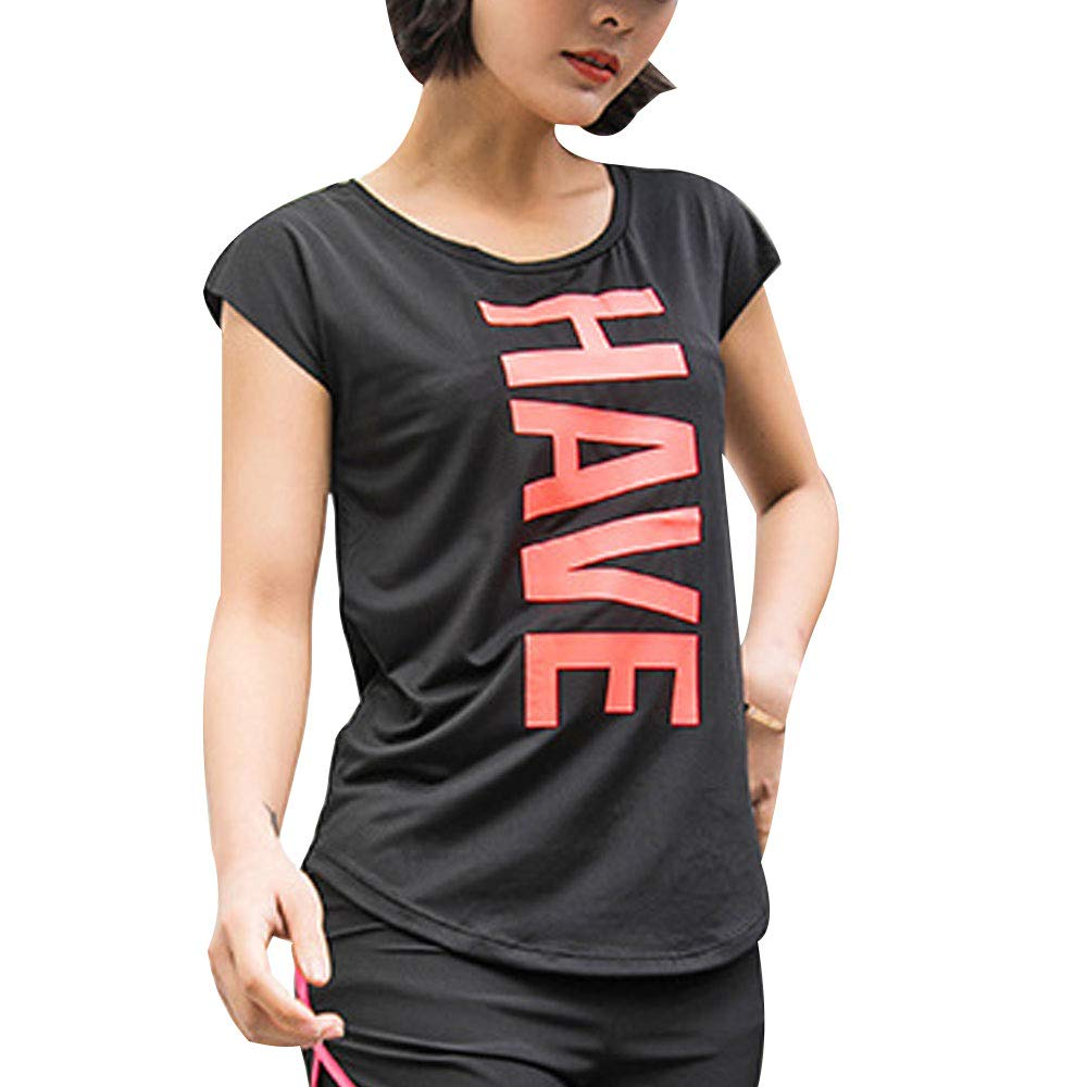 Womens Breathable Short Sleeve T-Shirt Graphic Athletic ...