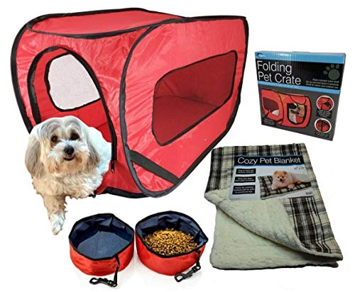 Pop Up Pet Kennel Travel Set, Ideal for Pet Owners. Complete Kit, Soft Collapsible Carrier, 2 Folding Food and Water Bowls, Comfy Bed. Crate Training Ebook. Small Pets Under 20 ()