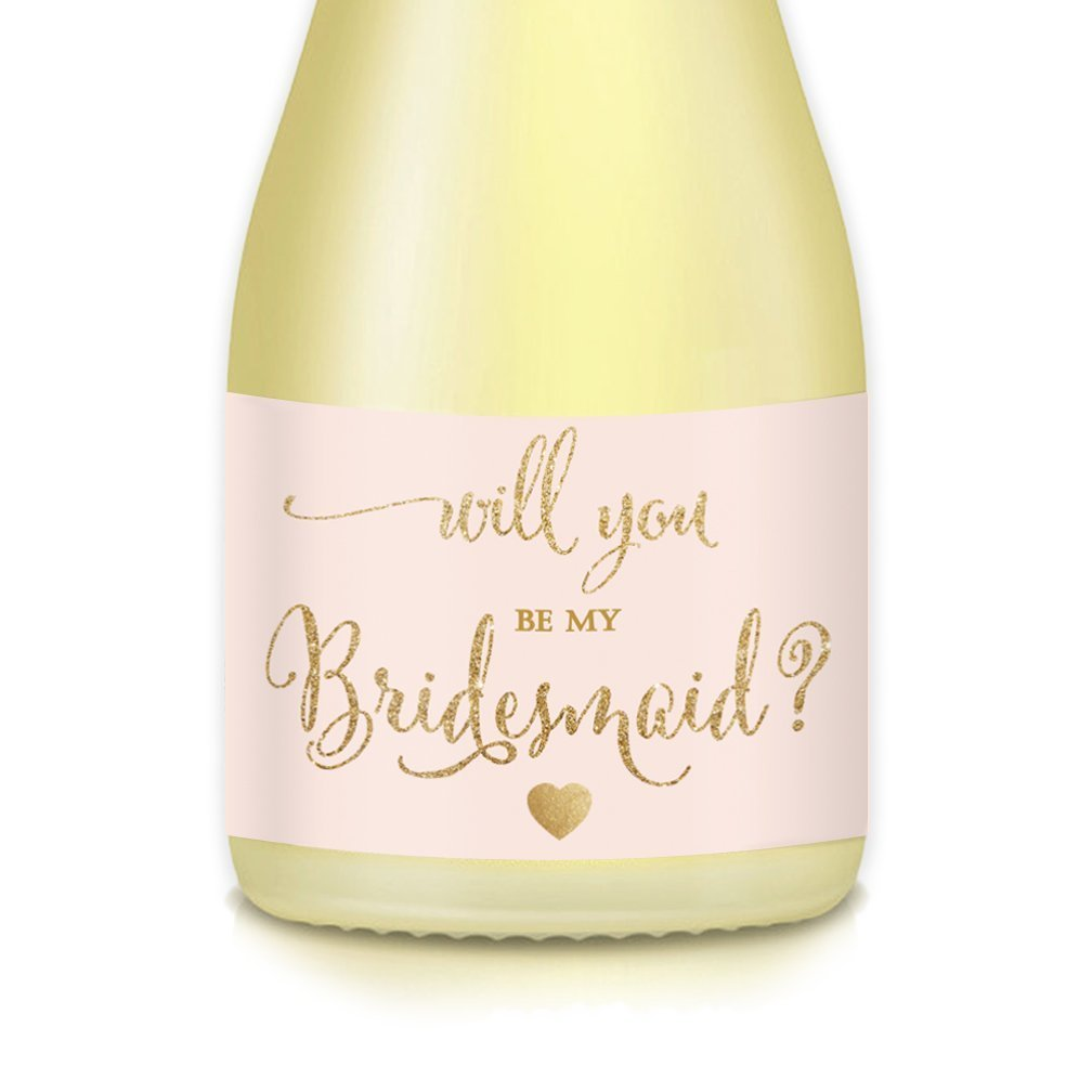 Wedding Party Mini Champagne Bottle Labels, Set of 10 Bridal Proposal Bride Ask Family Best Friend Will You Be My Bridesmaid, Maid Matron of Honor? Gift Bag Label, Mini Wine Bottle Blush Gold Sticker