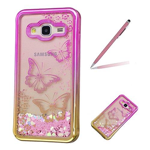 Trumpshop Smartphone Carcasa Funda Protección para Samsung Galaxy J3 / J3 (2016) + Girasol + Fina de TPU Transparent Liquido Dinámica Sparkle Estrellas Quicksand Caja Protectora Jardín de mariposas