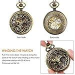 NICERIO Men Pocket Watch,Roman Numerals Semi-Auto Mechanical Windup Steampunk Pocket Watch with Fob Chain,Bronze 8
