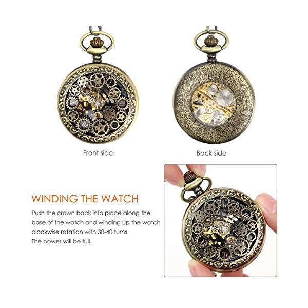 NICERIO Men Pocket Watch,Roman Numerals Semi-Auto Mechanical Windup Steampunk Pocket Watch with Fob Chain,Bronze 5