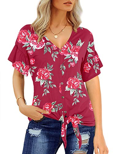 (Florboom Women's Loose Floral Printed T-Shirt V Neck Short Sleeve Tops (Burgundy, 2XL))