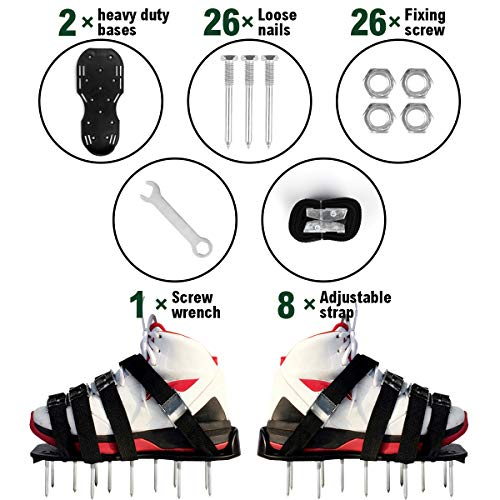MultiOutools Lawn Aerator Shoes Spiked Aerating Lawn Sandals Ripper Gardening Tool for Loosening Lawn &Yard Soil-26 Steel Spikes, 4 Secure Woven Straps &4 Zink Alloy Buckles-One Size Fits All (Black) by Multi Outools (Image #5)