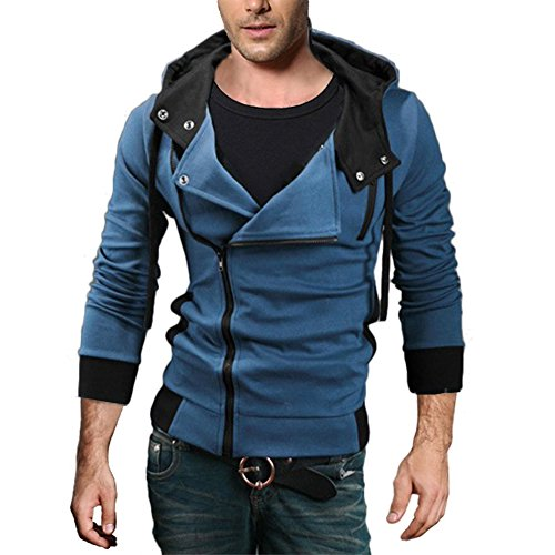 CNSELL Men's Oblique Zipper Jacket Cosplay Costumes Hoodie II Coat - Assassin's Creed 2 Costume Cosplay