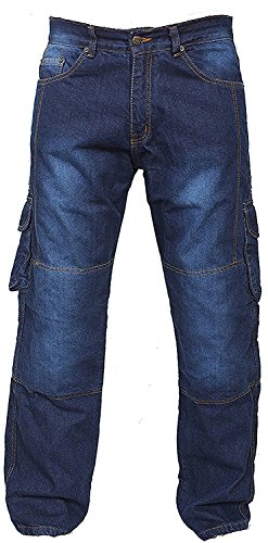 Newfacelook Denim Cargo Motorbike Sports Jeans Aramid Protection Lining I-101 Blue W34 L34 by Newfacelook