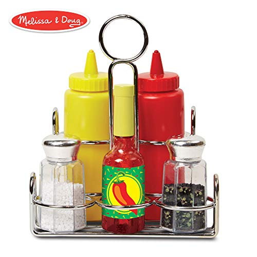 Mustard House - Melissa & Doug Let's Play House! Condiment Set (Pretend Play, Sturdy Metal Caddy, Realistic Sound Effects, 6 Pieces)