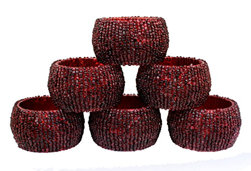[Napkin Vintage Rings Set of 6 Round Glass Beaded Retro Art Party Decoration -2.5 Inch] (Homemade Halloween Decorations Made From Paper)