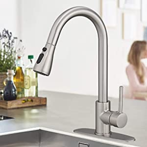 BESy Brass Single Handle Kitchen Faucet with Pull Down Sprayer,Rv High-Arc Kitchen Sink Faucet With Pull Out Sprayer,Single Lever 3 Function Laundry Room Faucet,Brushed Nickel (1 or 3 Hole)