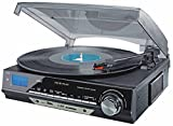 TechPlay ODC18-BS 3-Speed Turntable W/SD USB, MP3 Encoding System and AM/FM Stereo Radio & built-in speakers