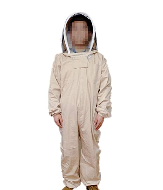 Professional Beekeeper Jumpsuit Suit Beekeeping Suit with Self Supporting Veil for Bee Keepers (XXL, White)