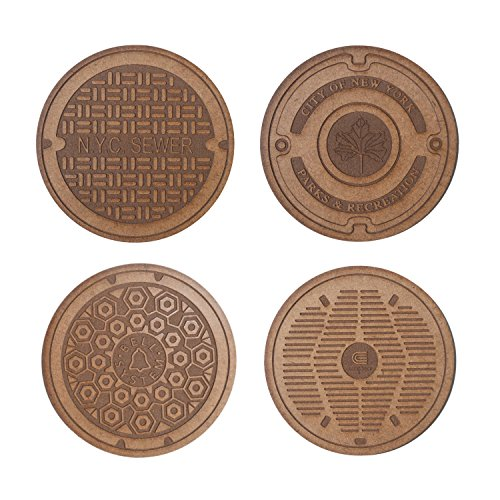 Drink Coasters New York City (NYC) Sewer Lids/Manhole Covers - 4 Pack - Great Gift - Perfect for Home, Kitchen or Office (Subway/4 Nyc Sign)