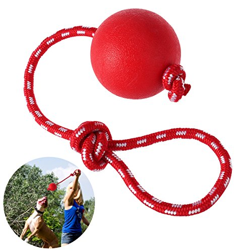 (UEETEK Pet Rubber Chew Toy Ball with Rope, Dog Interactive Ball Thrower for Pets Playing Training Exercising, Ball Diameter 7.5cm)