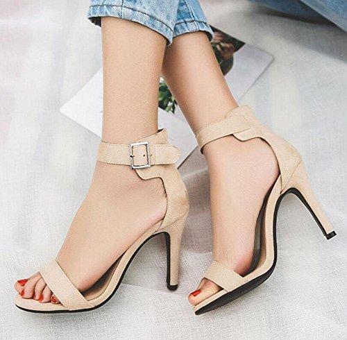 Mujeres gran grueso de abierta Pump sandalias 40 alto tamaño GLTER apricot de toed sandalias Ankle tacón Strap encantadora 43 Ad8xq6