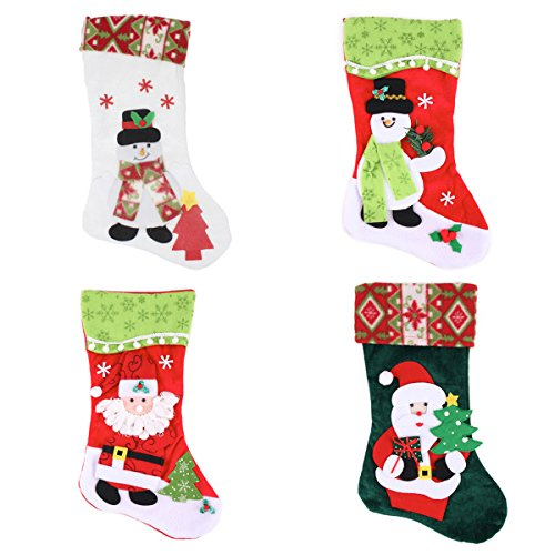 """Joiedomi Pack of 4 18"""" 3D Plush Christmas Stockings for Christmas Decoration Christmas Stockings"""