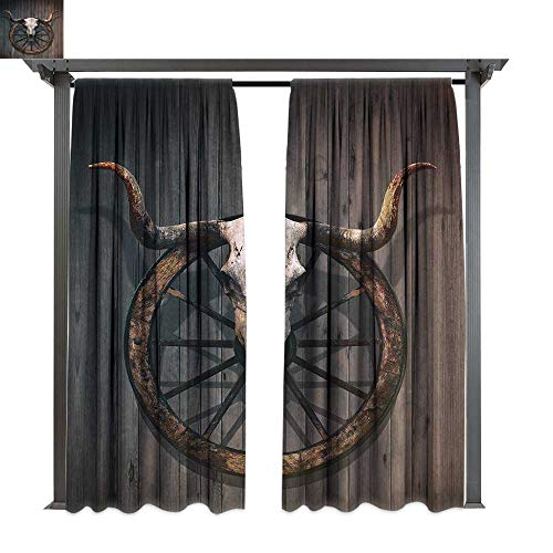 Knob Wheel Wagon (leinuoyi Barn Wood Wagon Wheel, Fashions Drape, Long Horned Bull Skull and Old West Wagon Wheel on Rustic Wall, Outdoor Curtain Waterproof Rustproof Drape (W96 x L96 Inches Black Brown White)