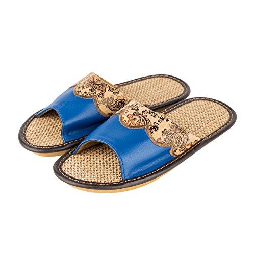 Haisum Donna Estate Pantofola In Lino Con Motivo Floreale In Pelle Aperte Le Dita Dei Piedi Assorbono I Sandali Antiscivolo Della Casa