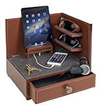 """Great Useful Stuff """"Rustic Modern"""" Corner Multi-Device Charging and Sunglass Station with Drawer & USB/AC Power Strip"""