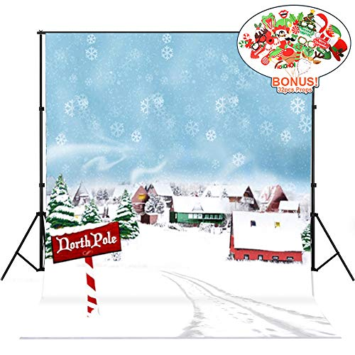 Christmas Backdrops with Photo Booth Props, MeeQee 5X7ft Photography Backdrop Christmas Town Snow Background Outdoor Scene Christmas Tree Customized Photography Background Studio Prop, -