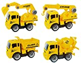 Construction Build and Take-A-Part Friction Trucks for Kids with Crane, Excavator, Mixer, Dump Truck Toy Vehicles