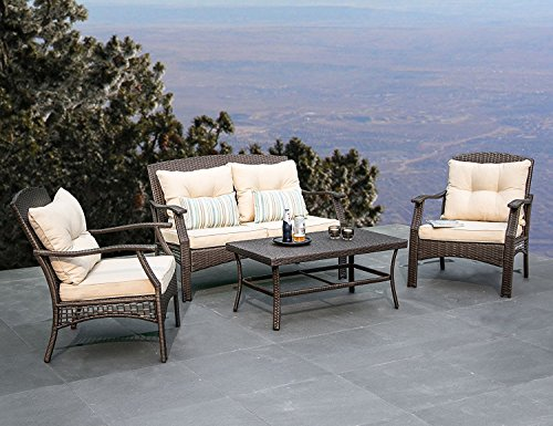 Outdoor Patio Furniture Wicker Sofa - All-Weather Woven Wicker Deep-Seating Conversation Set, Beige Seat and Back Cushions, Colorful Stripe Throw Pillows By Suntone Brown(4Piece) (Deep Seating Loveseat)