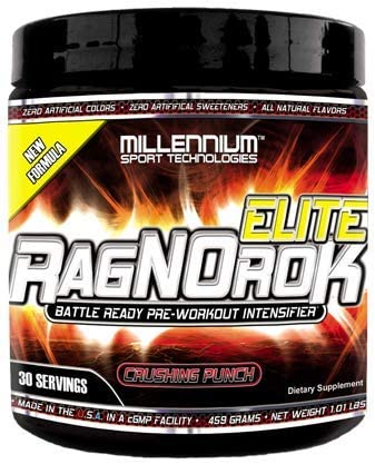 Millennium Sport Technologies, RagNOrok-ELITE Pre Workout All-Natural Flavors Sweeteners 459 Grams 30 Servings Full Strength, Crushing Punch Flavor