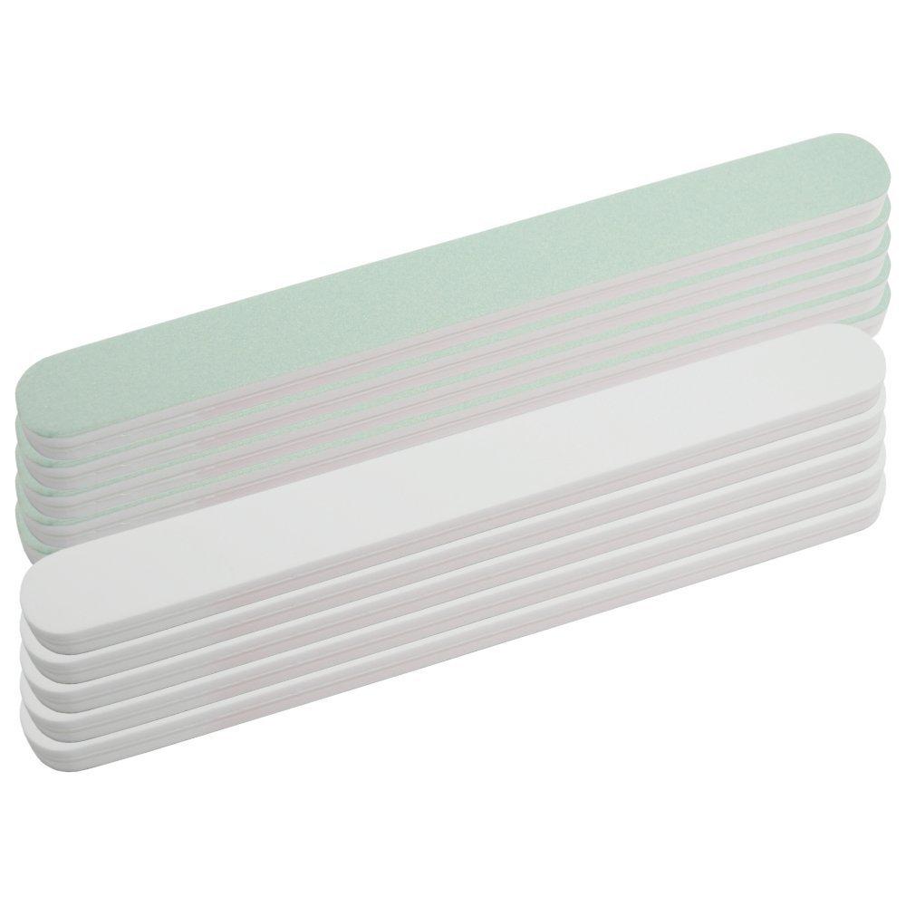 Super Shiner 598974 - Limas pulidoras rectas de 1000/4000, en colorverde menta y blanco, 10unidades NAILFUN ®