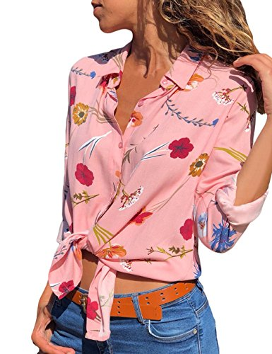 CILKOO Womens V Neck Autumn Long Sleeve Floral Print Boho Button Down T Shirts Tunics Casual Blouses Flowy Tops Blouse Chiffon Shirt Pink US4-6 Small