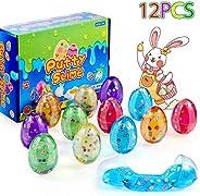 ThinkMax 12 PCs Slime Eggs Easter Silly Fluffy Egg Slime for Kids Easter Basket Stuffers, Easter Hunt Games