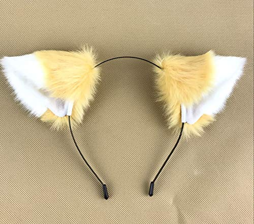 Happylifehere Long Fur Cat Fox Ears Headband Hairband Lolita Cosplay Costume Halloween Kitty Fancy Dress Light Brown with White -