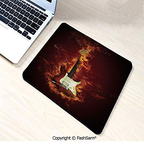 Personalized 3D Mouse Pad Electric Guitar in Flames Burning Fire Hardrock Musical Creativity Concept for Laptop Desktop(W7.8xL9.45) (Battlefield 3 Rock And A Hard Place)