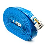 Blue 2'' x 100' Camlock Lightweight Lay Flat PVC Discharge Hose with Cam and Groove Quick Connect Fittings