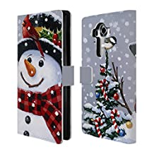 Official Christmas Mix William Vanderdasson Perched Snowman Leather Book Wallet Case Cover For LG G4 / H815 / H810