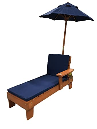 Nantucket Home Kids Cedar Wooden Lounge Chair With Cushions And Umbrella  Cobalt Blue