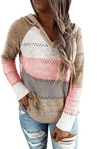 Pevilo Women Striped Color Block Hoodies Long Sleeve knitted Pullover Sweatshirts Tops