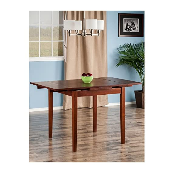 """Winsome Pulman Dining Table, Walnut - Overall extended size is 48"""" W x 29. 9"""" D x 29. 2"""" H. Compact size is 29. 9"""" W x 29. 9"""" D x 29. 2"""" H Made of solid wood in Walnut Finish Assembly required - kitchen-dining-room-furniture, kitchen-dining-room, kitchen-dining-room-tables - 51LtugE4%2B8L. SS570  -"""