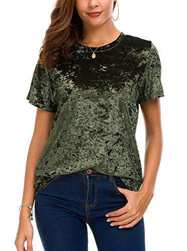 (Women's Crew Neck Velvet Top Short Sleeve T-Shirt (M, Green))