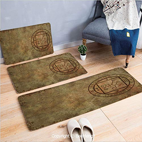 3 Piece Water Uptake Indoor Modern Anti-Skid Cartoon Carpet,Occult Decor,Ancient Textured Mystic Occult Sigil Seal Icon Over Distressed Old Background Decor,Tan,16x24/16x39/18x45 inch ()