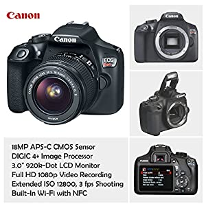 Canon EOS Rebel T6 DSLR Camera with 18-55mm IS II Lens Bundle + Canon EF 75-300mm f/4-5.6 III Lens and 500mm Preset Lens + 32GB Memory + Filters + Monopod + Spider Tripod + Professional Bundle from Canon