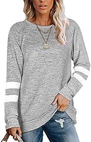 NSQTBA Womens Crewneck Sweatshirts Color Block Long Sleeve Sweaters Tunic Tops