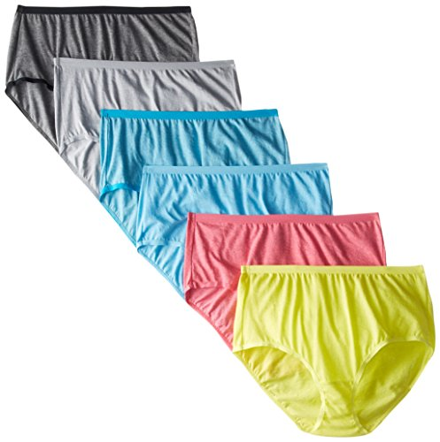 Fruit of the Loom Women's Underwear Beyond Soft Panties (Regular & Plus Size), Brief - 6 Pack - Assorted Color, 9