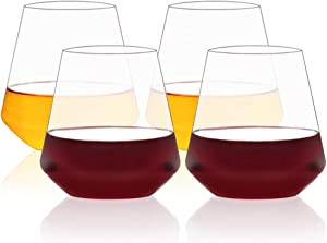 MICHLEY Large Stemless Wine Glasses Clear Tritan Plastic-Unbreakable Wine Cups for Red and White, Dishwasher Safe, 17oz, Set of 4