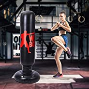 TOCO FREIDO Inflatable Kids Punching Bag, 63 Inch Freestanding Ninja Boxing Bag for MMA Boxing Training Practi