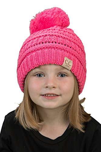 35d1f238e5f Funky Junque CC Kids Baby Toddler Cable Knit Children s Pom Winter Hat  Beanie