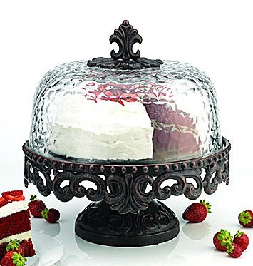 Artimino Venetian Attractive Cake Stand with Hammered Glass Dome - Scrolled Metal Footed Cake Plate