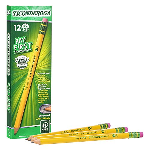Ticonderoga My First Pencils, Wood-Cased Primary Size #2 HB Soft Beginner Pencil, Pre-Sharpened with Eraser, Yellow, 12-Pack (33312)