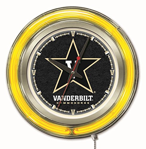 Holland Bar Stool Company NCAA Vanderbilt Commodores Double Neon Ring 15-Inch Diameter Logo Clock ()